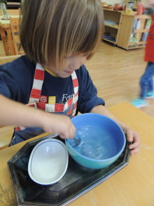 Children love science dissolving ice